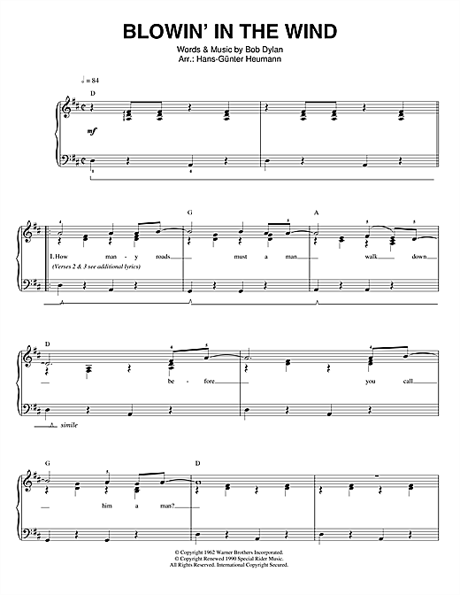 Bob Dylan Blowin' In The Wind sheet music notes and chords. Download Printable PDF.
