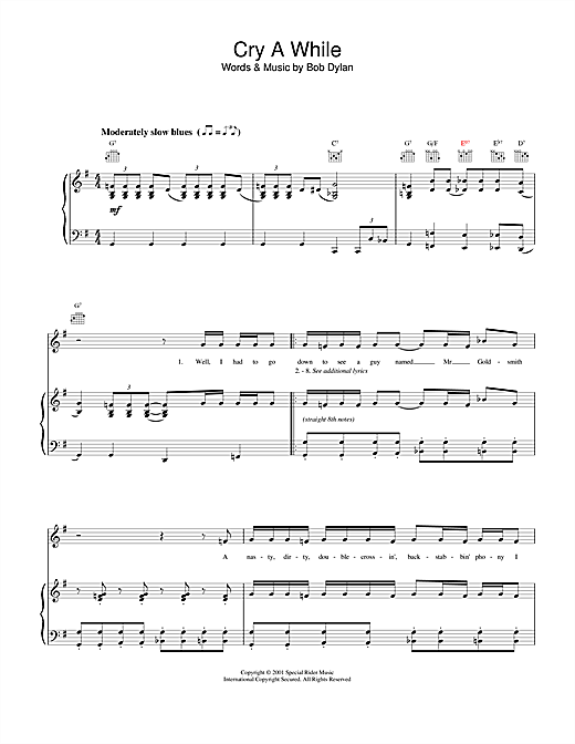 Bob Dylan Cry A While sheet music notes and chords