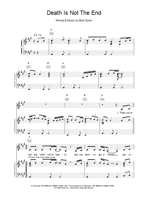 Nick Cave Death Is Not The End sheet music notes and chords. Download Printable PDF.
