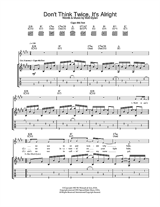 Bob Dylan Don't Think Twice, It's All Right sheet music notes and chords. Download Printable PDF.