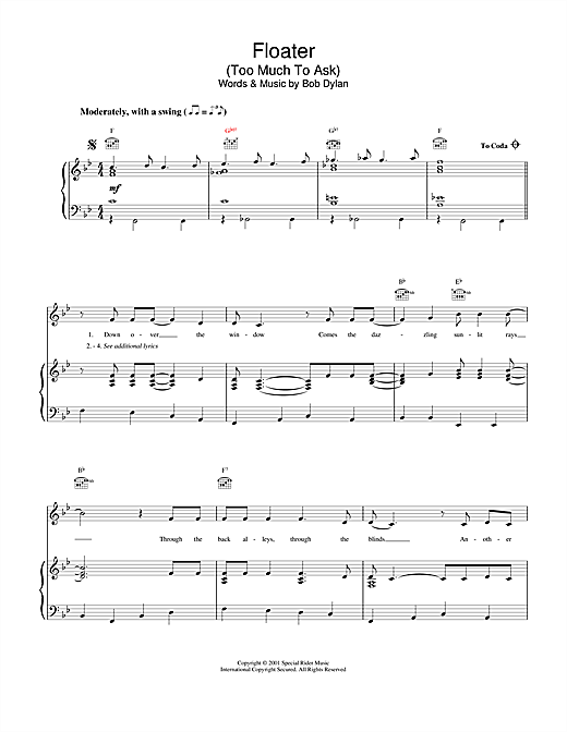 Bob Dylan Floater sheet music notes and chords