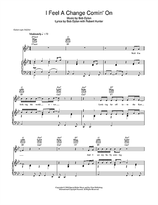 Bob Dylan I Feel A Change Comin' On sheet music notes and chords. Download Printable PDF.
