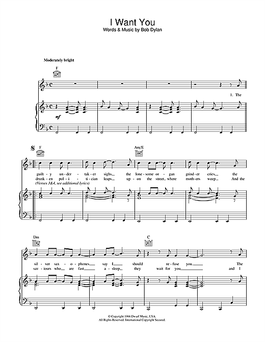 Bob Dylan I Want You sheet music notes and chords. Download Printable PDF.