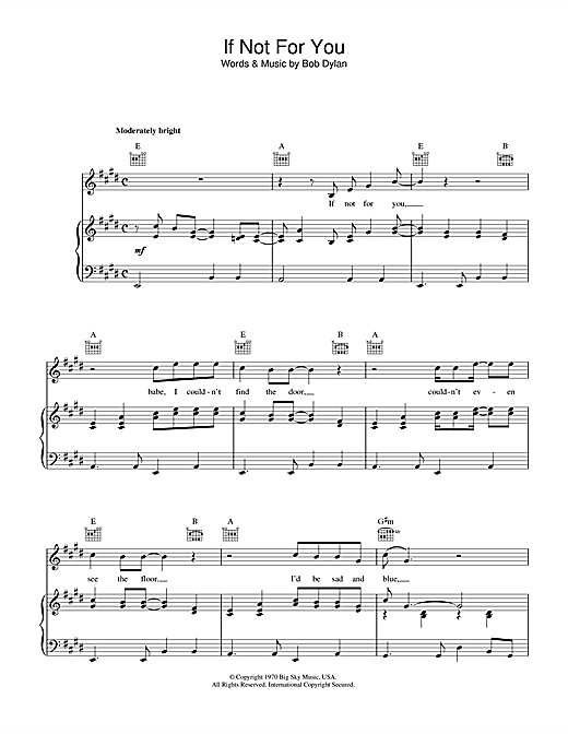 Bob Dylan If Not For You sheet music notes and chords. Download Printable PDF.