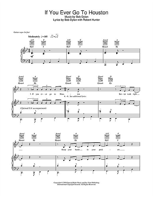 Bob Dylan If You Ever Go To Houston sheet music notes and chords. Download Printable PDF.