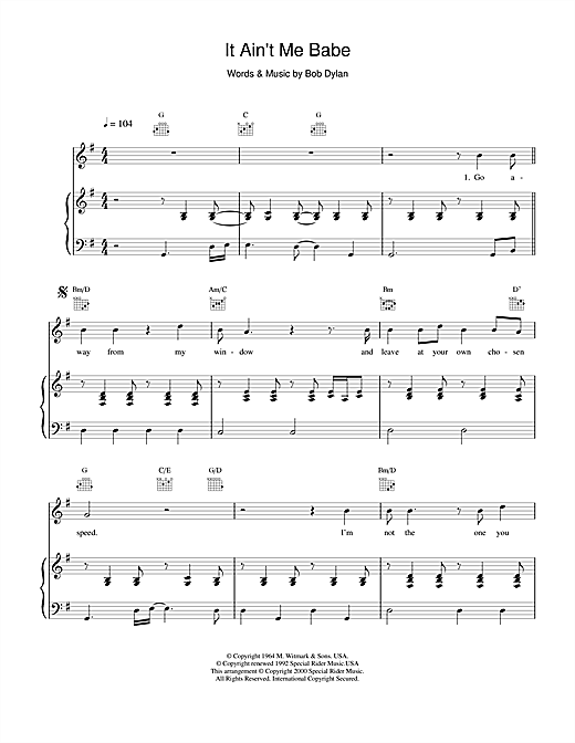 Bob Dylan It Ain't Me Babe sheet music notes and chords. Download Printable PDF.