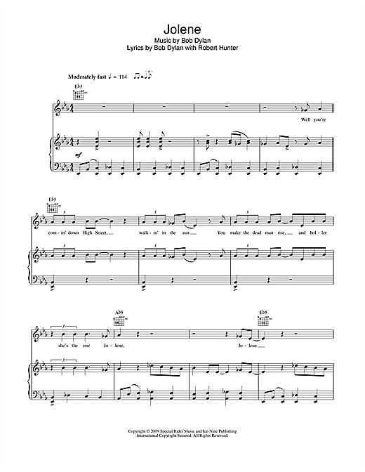Bob Dylan Jolene sheet music notes and chords. Download Printable PDF.