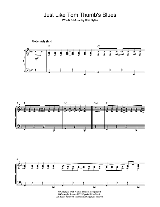 Bob Dylan Just Like Tom Thumb's Blues sheet music notes and chords. Download Printable PDF.