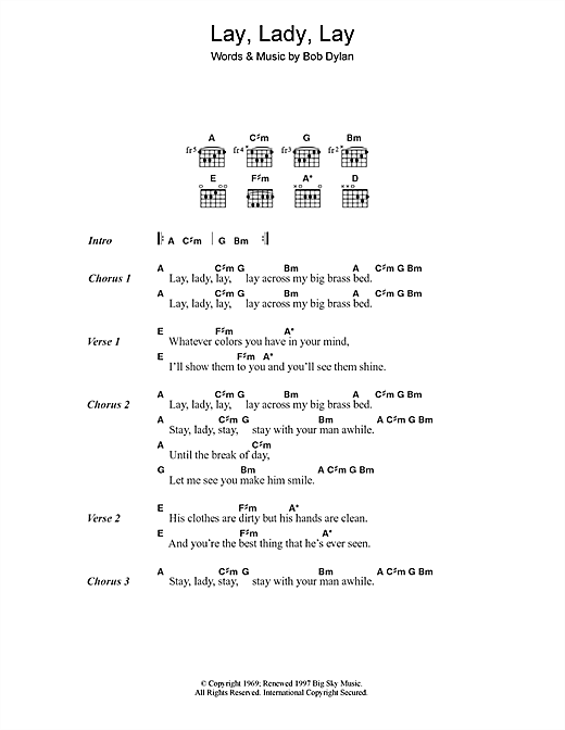 Bob Dylan Lay Lady Lay sheet music notes and chords. Download Printable PDF.