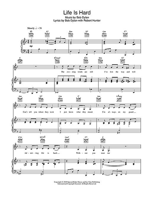Bob Dylan Life Is Hard sheet music notes and chords. Download Printable PDF.