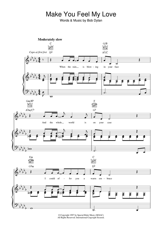 Bob Dylan Make You Feel My Love sheet music notes and chords