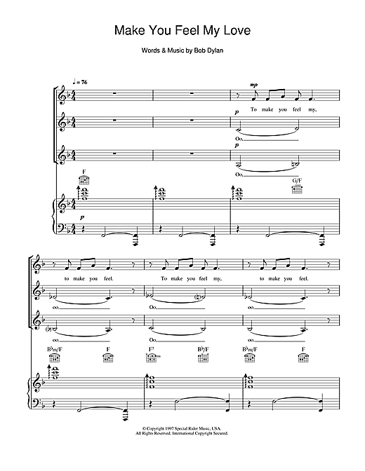 Bob Dylan Make You Feel My Love (arr. Jeremy Birchall) sheet music notes and chords. Download Printable PDF.