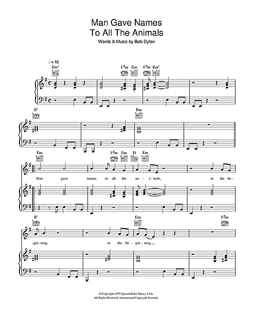 Bob Dylan Man Gave Names To All The Animals sheet music notes and chords