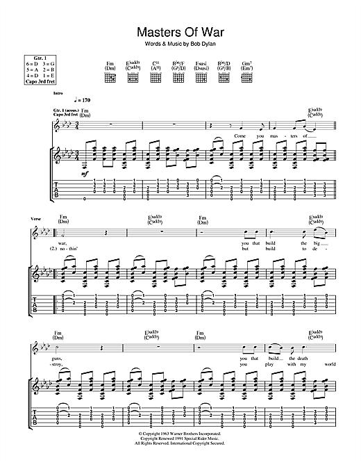 Bob Dylan Masters Of War sheet music notes and chords
