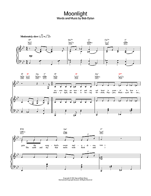 Bob Dylan Moonlight sheet music notes and chords. Download Printable PDF.