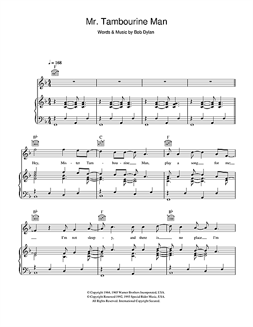Bob Dylan Mr. Tambourine Man sheet music notes and chords. Download Printable PDF.