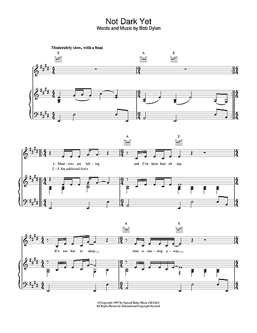 Bob Dylan Not Dark Yet sheet music notes and chords