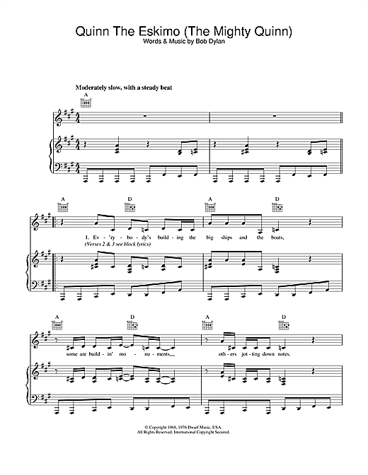 Bob Dylan Quinn The Eskimo (The Mighty Quinn) sheet music notes and chords. Download Printable PDF.