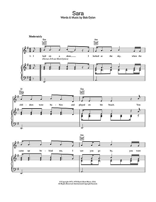 Bob Dylan Sara sheet music notes and chords