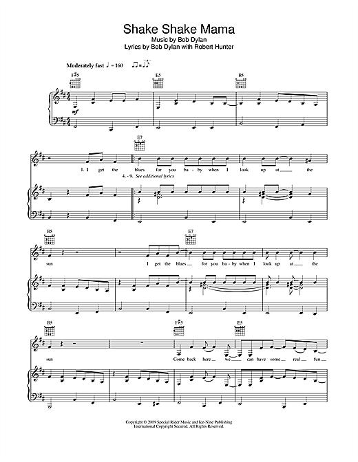 Bob Dylan Shake Shake Mama sheet music notes and chords. Download Printable PDF.