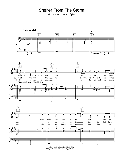Bob Dylan Shelter From The Storm sheet music notes and chords. Download Printable PDF.