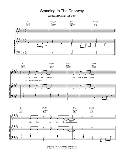 Bob Dylan Standing In The Doorway sheet music notes and chords