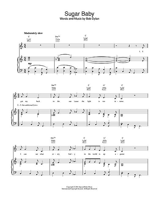 Bob Dylan Sugar Baby sheet music notes and chords