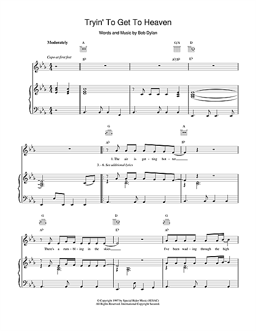 Bob Dylan Tryin'To Get To Heaven sheet music notes and chords
