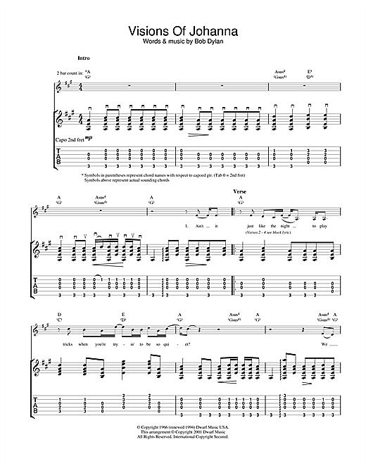Bob Dylan Visions Of Johanna sheet music notes and chords