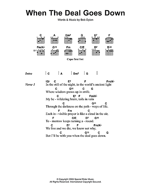 Bob Dylan When The Deal Goes Down sheet music notes and chords