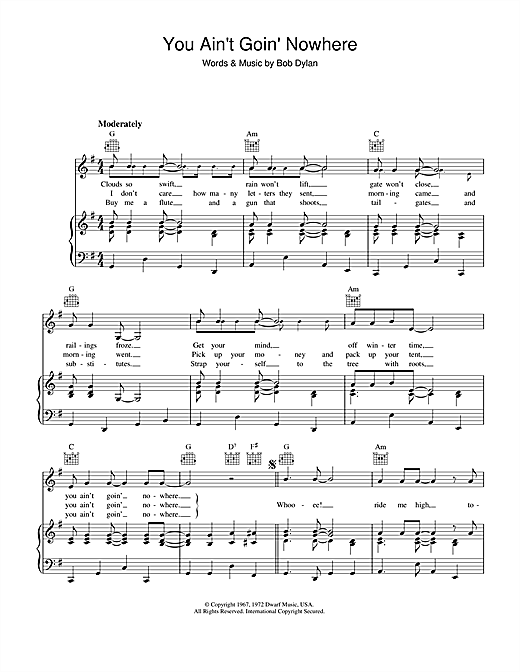 Bob Dylan You Ain't Goin' Nowhere sheet music notes and chords
