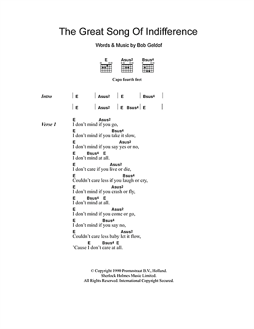 Bob Geldof The Great Song Of Indifference Sheet Music Pdf Notes Chords Rock Score Guitar Chords Lyrics Download Printable Sku 102613