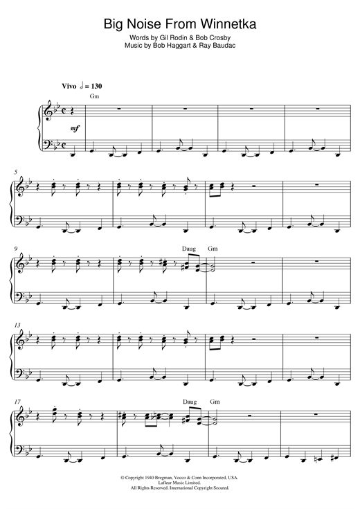 Bob Haggart Big Noise From Winnetka sheet music notes and chords. Download Printable PDF.