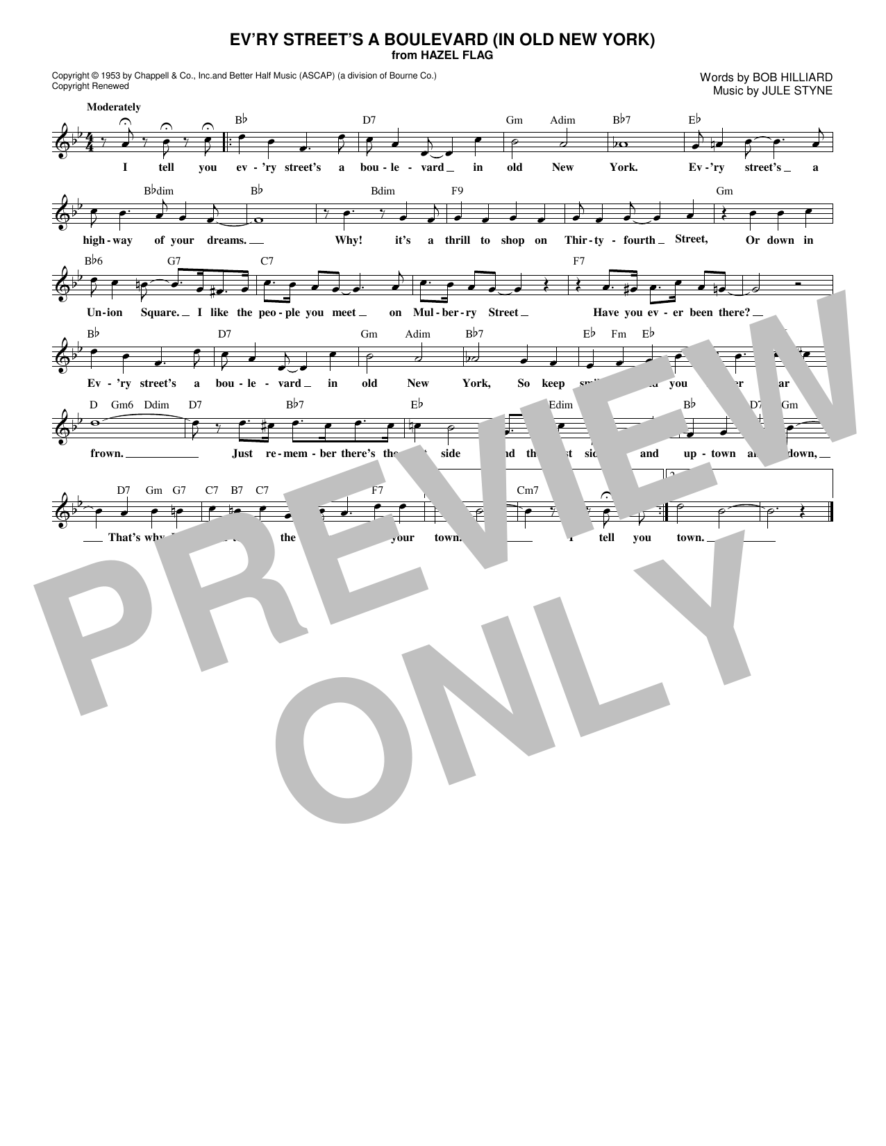 Bob Hilliard Ev'ry Street's A Boulevard (In Old New York) sheet music notes and chords. Download Printable PDF.
