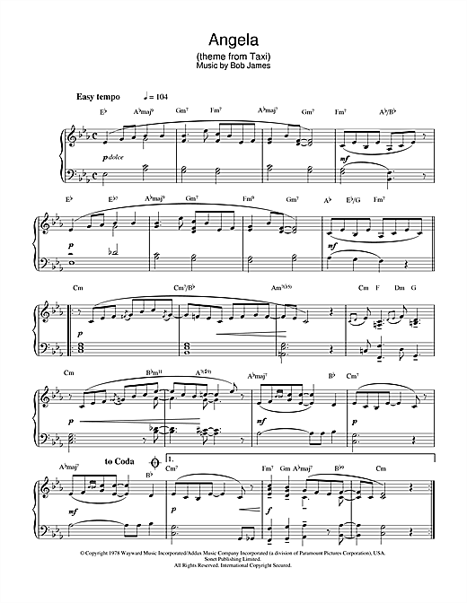 Bob James Angela (theme from Taxi) sheet music notes and chords. Download Printable PDF.
