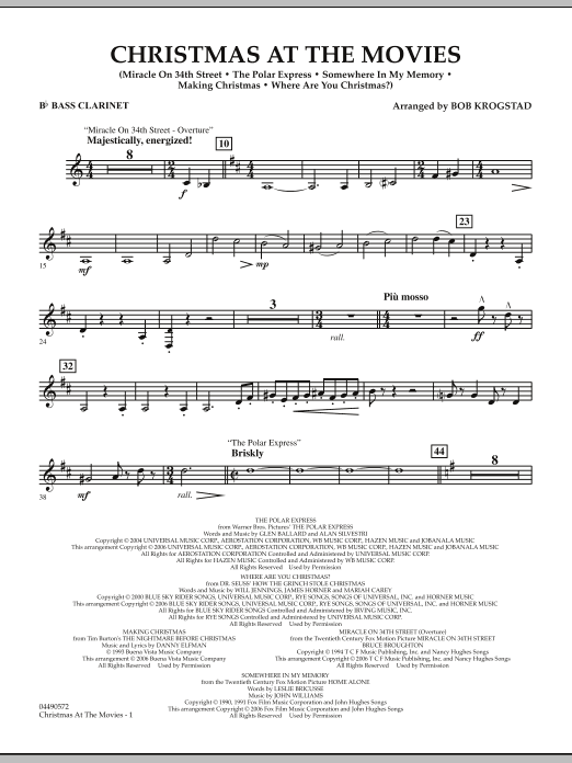 Bob Krogstad Christmas At The Movies - Bb Bass Clarinet sheet music notes and chords. Download Printable PDF.