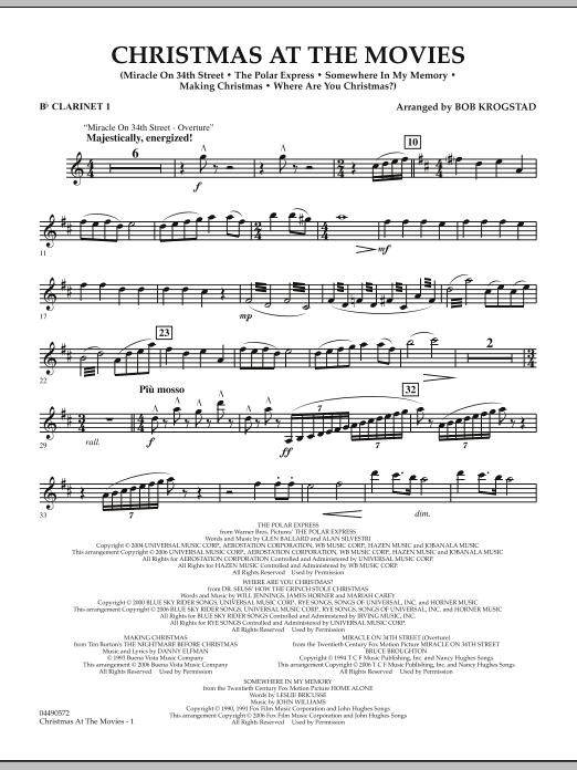 Bob Krogstad Christmas At The Movies - Bb Clarinet 1 sheet music notes and chords. Download Printable PDF.