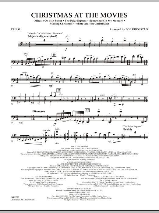 Bob Krogstad Christmas At The Movies - Cello sheet music notes and chords. Download Printable PDF.