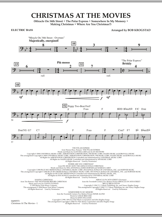 Bob Krogstad Christmas At The Movies - Electric Bass sheet music notes and chords. Download Printable PDF.