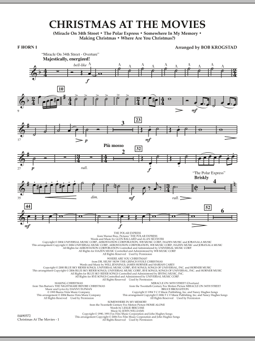 Bob Krogstad Christmas At The Movies - F Horn 1 sheet music notes and chords. Download Printable PDF.