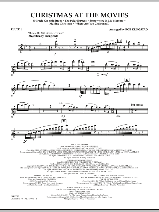 Bob Krogstad Christmas At The Movies - Flute 1 sheet music notes and chords. Download Printable PDF.