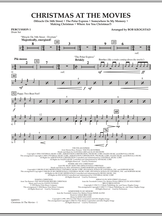 Bob Krogstad Christmas At The Movies - Percussion 1 sheet music notes and chords. Download Printable PDF.