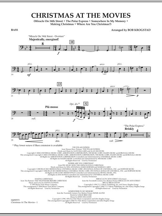 Bob Krogstad Christmas At The Movies - String Bass sheet music notes and chords. Download Printable PDF.