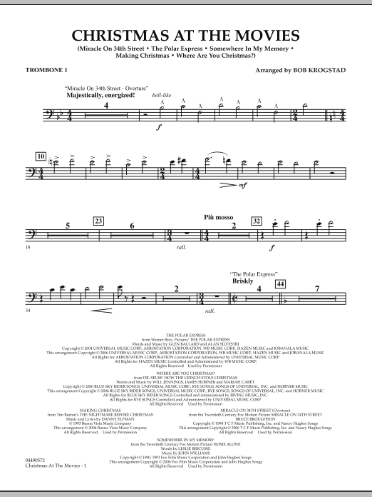 Bob Krogstad Christmas At The Movies - Trombone 1 sheet music notes and chords. Download Printable PDF.
