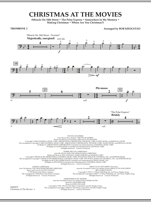 Bob Krogstad Christmas At The Movies - Trombone 2 sheet music notes and chords. Download Printable PDF.