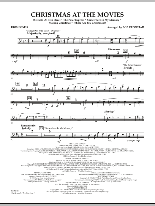 Bob Krogstad Christmas At The Movies - Trombone 3 sheet music notes and chords. Download Printable PDF.