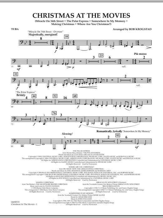 Bob Krogstad Christmas At The Movies - Tuba sheet music notes and chords. Download Printable PDF.