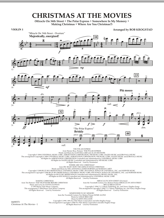 Bob Krogstad Christmas At The Movies - Violin 1 sheet music notes and chords. Download Printable PDF.