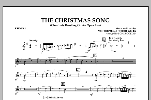Bob Krogstad The Christmas Song (Chestnuts Roasting on an Open Fire) - F Horn 1 sheet music notes and chords. Download Printable PDF.