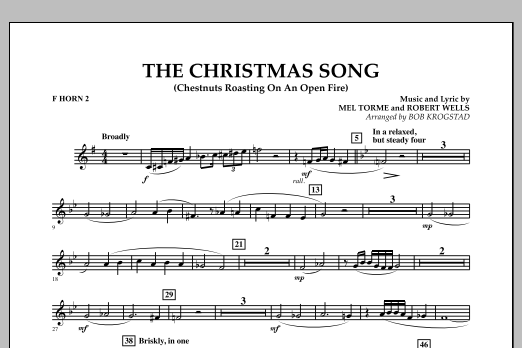 Bob Krogstad The Christmas Song (Chestnuts Roasting on an Open Fire) - F Horn 2 sheet music notes and chords. Download Printable PDF.